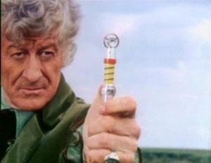 Third Doctor Jon Pertwee detonates mines with the sonic screwdriver