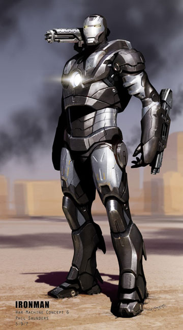 War Machine concept drawing by Iron Man movie artist Phil Saunders