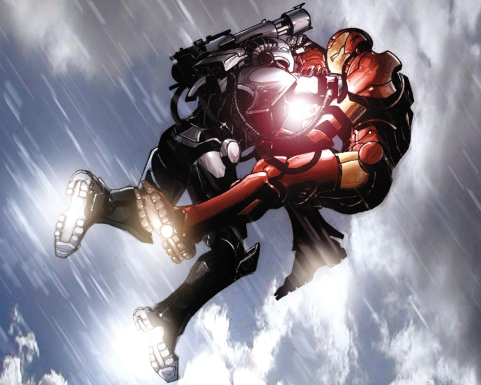 War Machine tackles Iron Man
