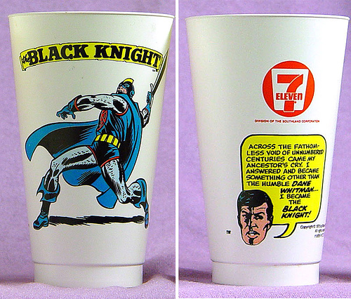 Black Knight III (Dane Whitman) recounts his origin on a Slushee cup