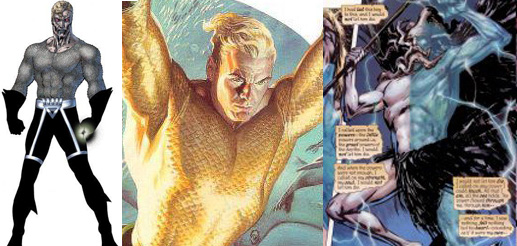 Three faces of Aquaman: Black Lantern, King and Squid