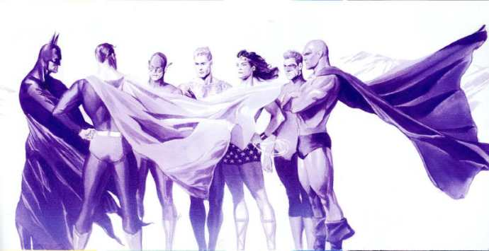 The Justice League of America gather for the first time (as drawn by Alex Ross)