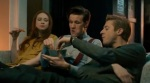 Post-modern reverse-viral marketing? The cast eat fish fingers and custard while watching TV, something fans have been doing since Smith started as the Doctor