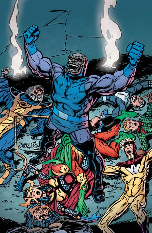 Darkseid stands triumphant over the Gods of New Genesis