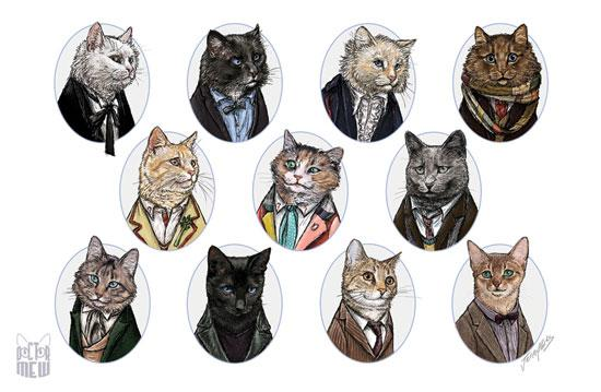 All of the incarnations of Doctor Who as cats