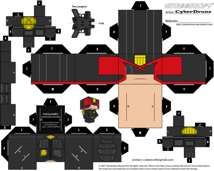 Print and trim to make your own Dredd Cubee