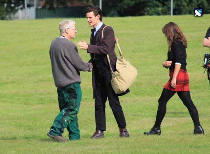 Matt Smith on location in wig