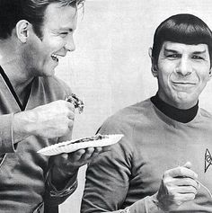 A candid snapshot of Nimoy and Star Trek co-star Shatner