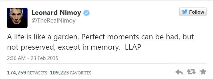 Leonard Nimoy's final words on Twitter